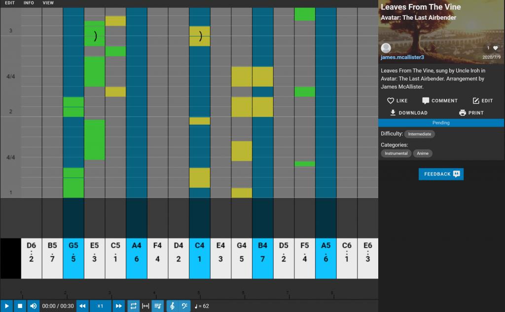 Kalimbist, online kalimba tablature software.