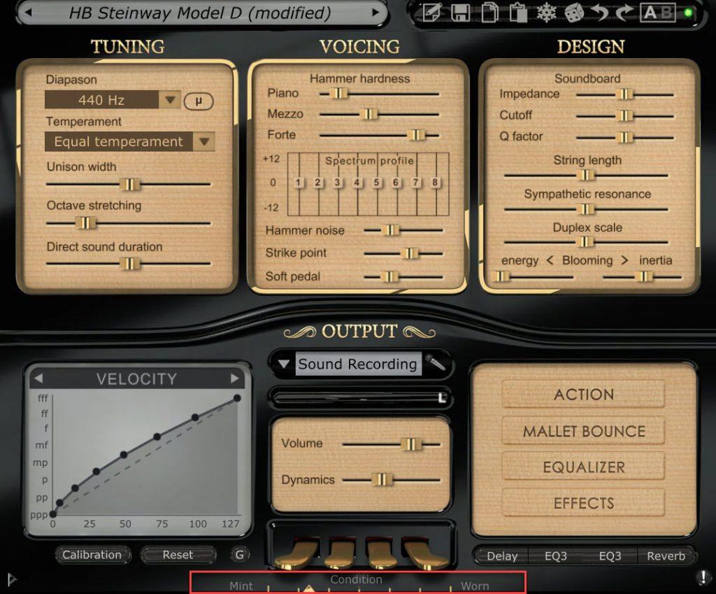 Pianoteq Condition Slider