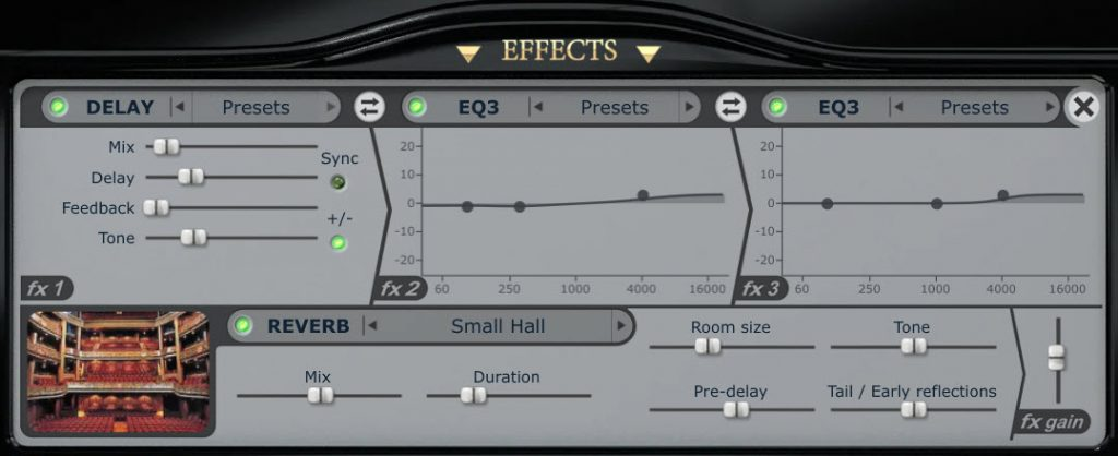 Pianoteq Effects Panel